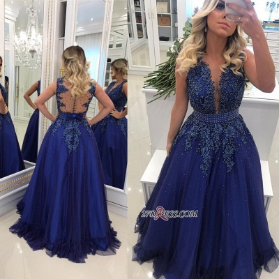 Gorgeous V-Neck Lace Prom Dress UKes UK   Long Navy Evening Dress UK Online BMT_2