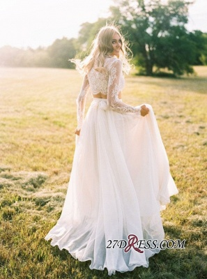Elegant A-line Two-Piece  Long-Sleeves Lace Wedding Dresses UK_4