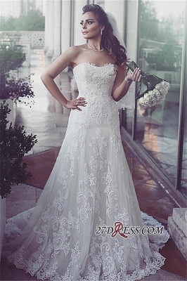 Lace Sweetheart Sleeveless Tulle Elegent Sweep-Train Wedding Dresses UK_1