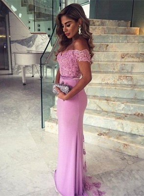 Sexy Lace Appliques Mermaid Prom Dress UK Off-the-shoulder Sweep Train_2