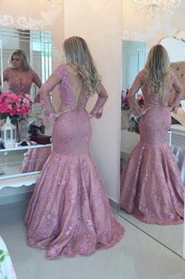 Fuchsia Lace Prom Dress UK | Long Pearls Evening Gowns_2