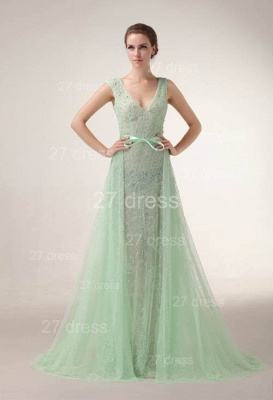 Elegant V-Neck Lace Evening Dress UKes UK Bownot A-Line Prom Gowns with Beadings_1