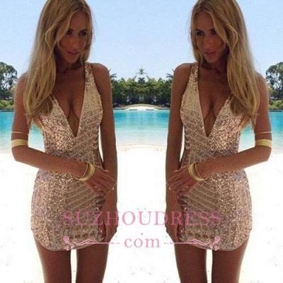 Sequins V-Neck Sleeveless Elegant Short Homecoming Dress UK_1