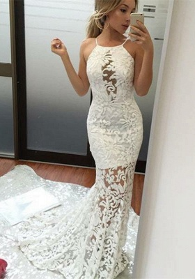 White Halter Prom Dress UK   Lace Mermaid Evening Gowns BA9091_1