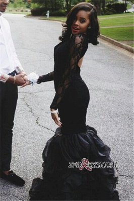 Black Lace Long-Sleeves Mermaid Elegant Keyhole-Neck Ruffles-Skirt Prom Dress UKes UK_2