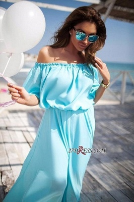 Outdoor Chiffon Off-the-shoulder Long Short-sleeves Elastic-band Sexy Beach Evening Dress UK_2