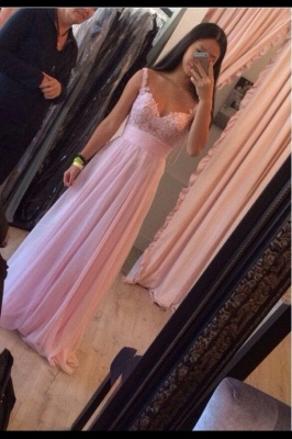 Delicate Pink A-line Prom Dress UK Lace Appliques Chiffon_1