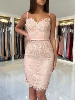 Sexy Pink Sheath Short Homecoming Dress UKes UK | Spaghetti-Strap Sleeveless Cocktail Dress UKes UK_3