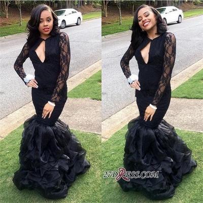 Black Lace Long-Sleeves Mermaid Elegant Keyhole-Neck Ruffles-Skirt Prom Dress UKes UK_1