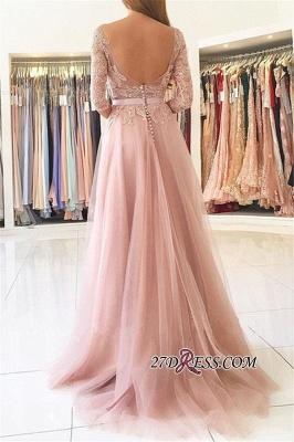 Sexy Half-Sleeve Split Lace Long Evening Dress UK BA7488_1