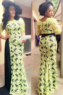 Elegant Yellow Black Evening Dress UK Long Sleeve On Sale_2