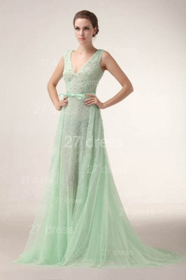 Elegant V-Neck Lace Evening Dress UKes UK Bownot A-Line Prom Gowns with Beadings_6
