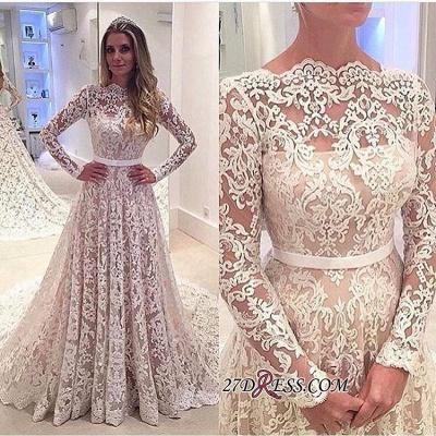 Long-Sleeves Backless Lace Bowknot Elegant A-Line Wedding Dress BA3858_1