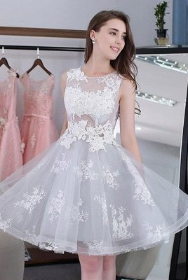 Newest Illusion Lace Appliques A-line Short Homecoming Dress UK | Homecoming Gown_1