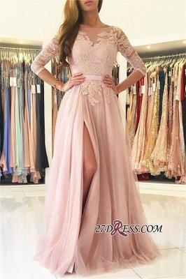 Sexy Half-Sleeve Split Lace Long Evening Dress UK BA7488_2