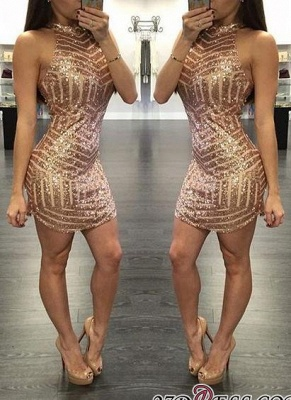 Sequins Halter-Neck Tight Sheath Short Homecoming Dress UKes UK_2