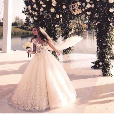 Elegant Cal Sleeve Wedding Dress 3D Floral Appliques Princess Bridal Gowns Tulle_6