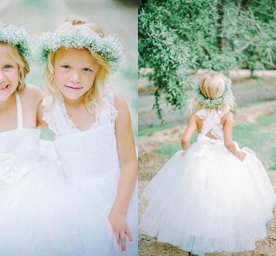 Lovely Tulle Lace White Flower Girl Dress Cross Back_2