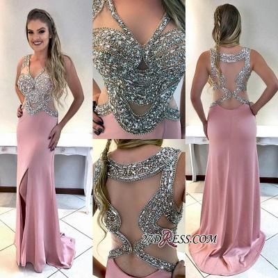 V-neck mermaid evening Dress UK, crystal prom Dress UK_1