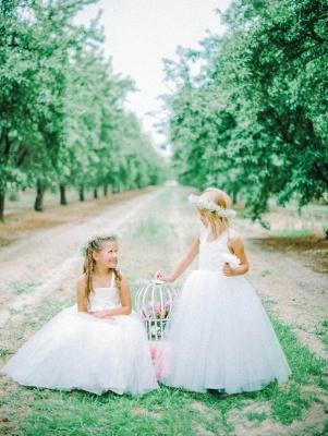 Lovely Tulle Lace White Flower Girl Dress Cross Back_3