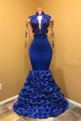 High Neck Mermaid Prom Dress UK, Flowers Prom Dress UK BA8227_1