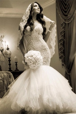Newest Style Lace Wedding DressSexy Mermaid Tulle Bridal Gowns_1