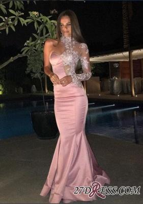 Luxury Mermaid Lace One-Shoulder High-Neck Evening Dress UK_2