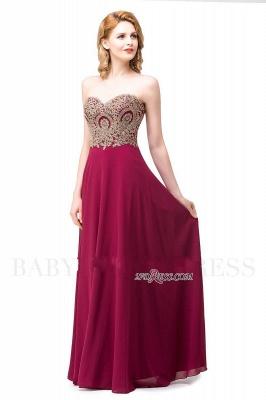Appliques Chiffon Long Burgundy Sexy Sweetheart-Neck Prom Dress UKes UK_8