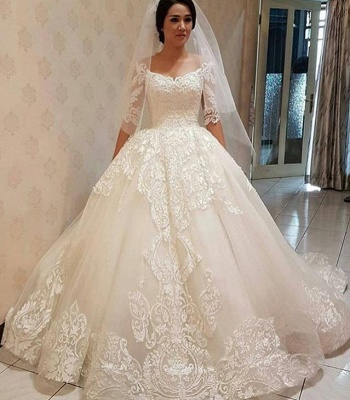 Elegant Ball Gown Lace Off-the-shoulder Half Sleeve Wedding Dress_3