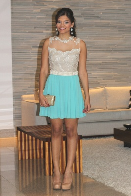 Pearl Short Lace Prom Dress UKes UK New Arrival Lindo Vestido Party Gowns See Through Sleeveless Green_6