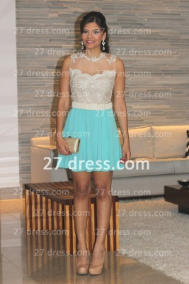Pearl Short Lace Prom Dress UKes UK New Arrival Lindo Vestido Party Gowns See Through Sleeveless Green_1