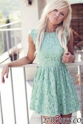 Mint Pretty Sexy Sleeveless New Lace Bateau Miniskirt Homecoming Dress UK_2