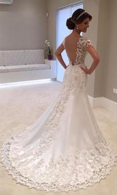 Long Sexy Mermaid Lace Gorgeous Cap-Sleeve Wedding Dress cc0023_3