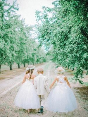 Lovely Tulle Lace White Flower Girl Dress Cross Back_4