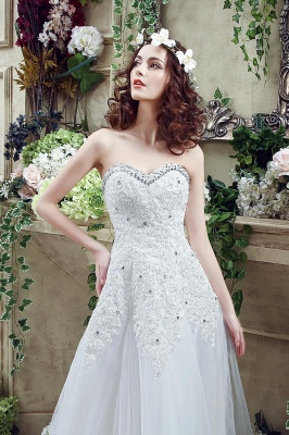 Elegant Sequined Lace Tulle Wedding Dress Court Train Lace-up_6