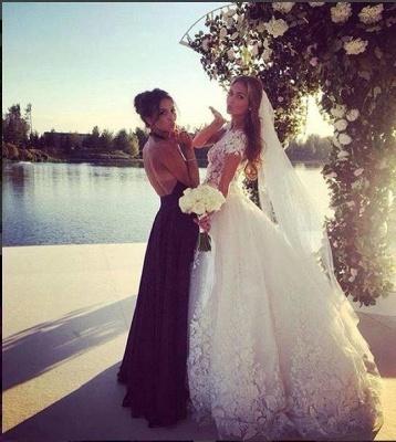 Elegant Cal Sleeve Wedding Dress 3D Floral Appliques Princess Bridal Gowns Tulle_7