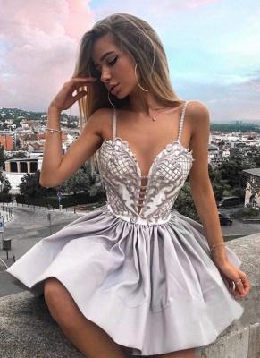 A-Line Spaghetti Straps Homecoming Dress UKes UK | Elegant Lace Appliques Cocktail Dress UKes UK_1