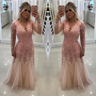 Sexy Long Sleeve Pink Evening Dress UK | 2019 Mermaid Beadings Lace Prom Dress UK_3