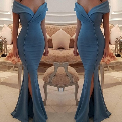 Sexy Off-the-Shoulder Slit Mermaid Buttons Evening Dress UK Long On Sale BA7331_3
