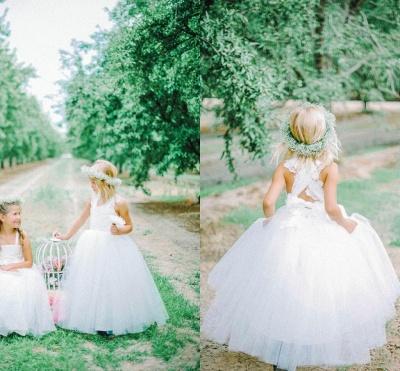 Lovely Tulle Lace White Flower Girl Dress Cross Back_6