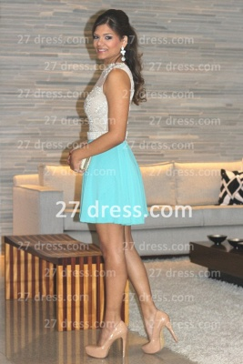 Pearl Short Lace Prom Dress UKes UK New Arrival Lindo Vestido Party Gowns See Through Sleeveless Green_5