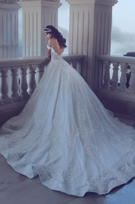 Chic Lace Off-the-Shoulder Wedding Dress Backless Long Beadss Bridal Gowns With Train_1