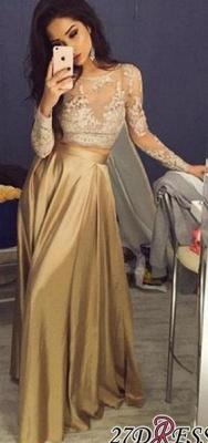 Two-Piece Long-Sleeve A-Line New Lace Elegant Prom Dress UKes UK BA3993_2