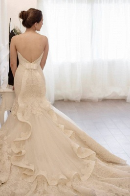 Stunning Sweetheart Lace Appliques Sexy Mermaid Wedding Dress Zipper Back With Train_3