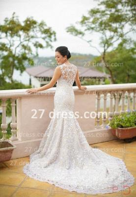 Sequins Wedding Sexy Mermaid Lace Wedding Dresses UK Beaded Bateau Applique Pearls Back  Dress_4