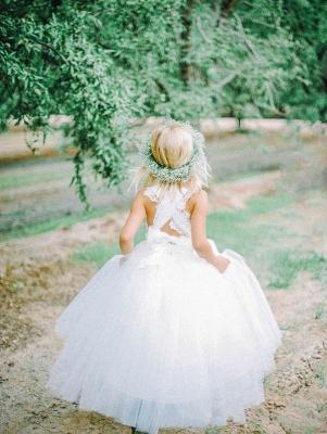 Lovely Tulle Lace White Flower Girl Dress Cross Back_1