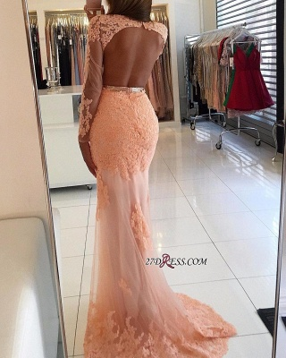 Newest Mermaid Lace-Appliques Long-Sleeve High-Neck Prom Dress UK_2