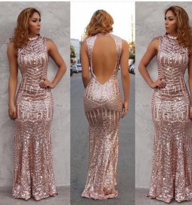 Luxury Open Back Sequins Prom Dress UK Long Sleeveless High-Neck_3