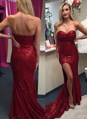 Elegant Red Sequins Prom Dress UKes UK Split Mermaid Zipper Back_2