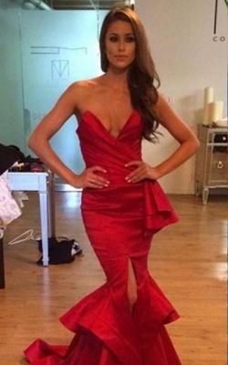 Elegant Sweetheart Sleeveless Mermaid Prom Dress UK With Ruffles Floor-length_2
